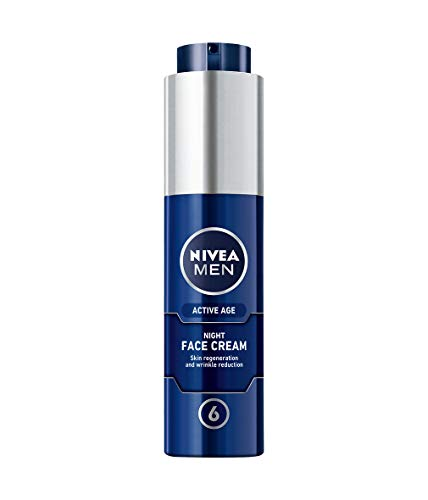 NIVEA MEN ACTIVE AGE Night Regenerator (50 ml), Anti Ageing Cream with Creatine and Caffeine, 6 in 1 Moisturising Night Cream For Men
