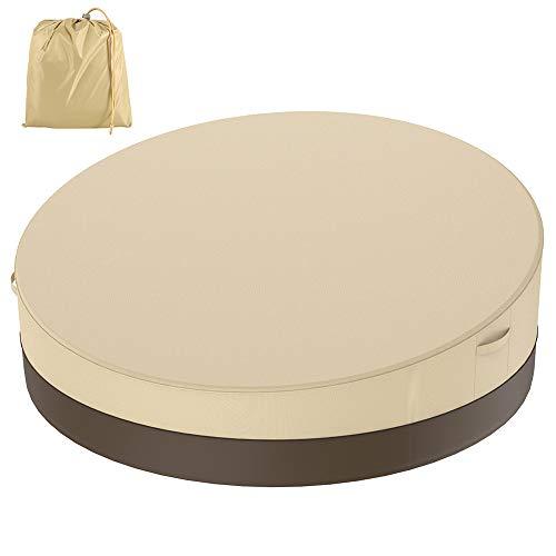 Funda para cama de jardín de ratán, funda de protección para sofá redonda, impermeable, para muebles de exterior, 228 x 83 cm (beige + marrón, 420D)