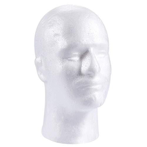 Nuevo Modelo de Cabeza de Espuma de Espuma de poliestireno de poliestireno Blanco para Hombre Soporte Peluca Cabello Sombrero Auricular Cabeza de maniquí Pantalla