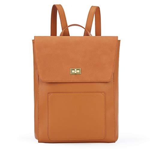 ECOSUSI Rucksack Leder Damen Daypack Vintage Laptop Rucksack 14 Zoll Schulrucksack mit Laptopfach Wasserabweisend Braun