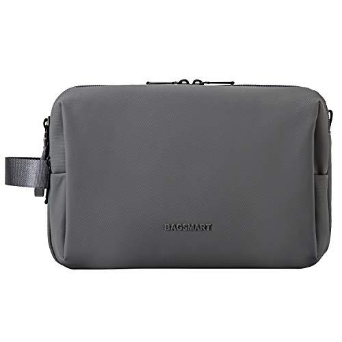 Toiletry Bag for Men, BAGSMART Travel Toiletry Organizer Dopp Kit Water-resistant Shaving Bag for Toiletries Accessories, Grey
