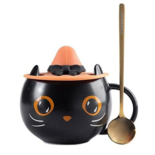 Qagazine Juego de taza de café con tapa de bruja y cuchara de cerámica para el hogar y la oficina