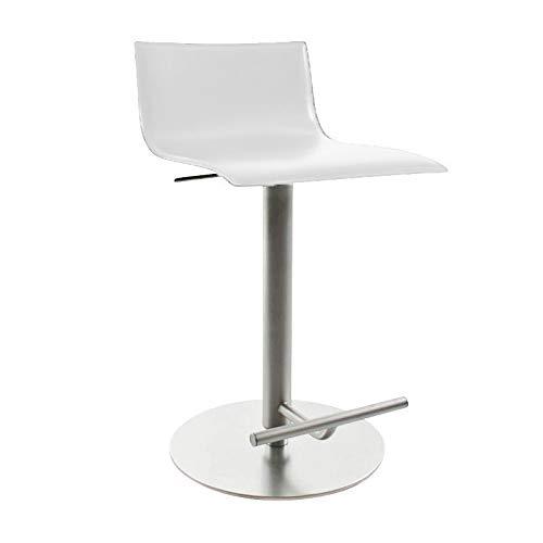 lapalma Thin Barhocker höhenverstellbar, weiß Leder Sitzfläche gepolstert höhenverstellbar von 54 bis 79 cm