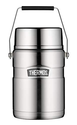 THERMOS Henkelmann, Lunchpot, Thermobehälter Stainless King, Thermogefäß Edelstahl mattiert 1,2L, Speisegefäß für Suppen, Salat, Eintopf, 4001.205.120, 2 Einsätze, 12 Stunden heiß, 24 Stunden kalt