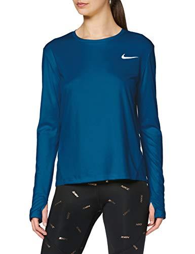 Nike Damen Long Sleeved T-Shirt W NK Miler TOP LS, Valerian Blue/(Reflective silv), S, AJ8128