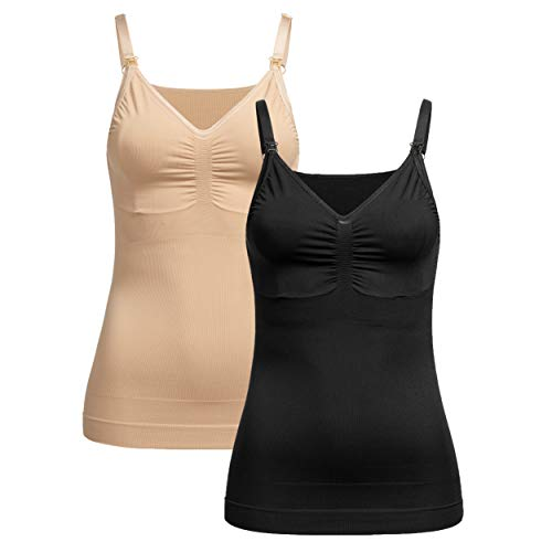 Herzmutter Still Tops - Nahtlos-Seamless Shapewear - Figurformendes-Shaping-Top mit Bustier - Unterhemd mit Stillfunktion - extra enganliegend - 1er & 2er Set - 5320 (Schwarz/Beige, 40-42)