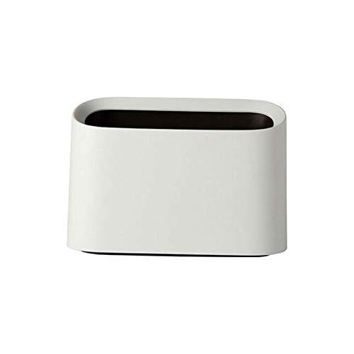 Cttiuliljt Mini Trash Can, Desktop-Müll, Trash Can Startseite Müll Can, Rollen Schaukel mit Deckel Schreibtisch Aufbewahrungsbox (Color : White)