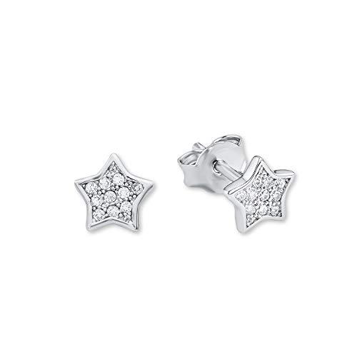 amor Ohrstecker für Mädchen 6 mm Sterne 925 Silber rhodiniert Zirkonia weiß