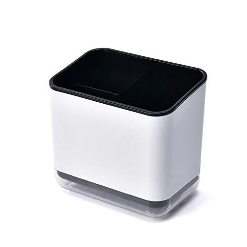 PPuujia Caja de almacenamiento de cubiertos multifuncional cuchara, tenedor, caja de almacenamiento de palillos, estante de drenaje de vajilla doble, estante de almacenamiento de cocina (color: negro)