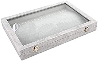 20 Hooks Jewelry Showcase for Necklaces Jewelry Box Stackable Glass Top Lockable (Necklace Box)