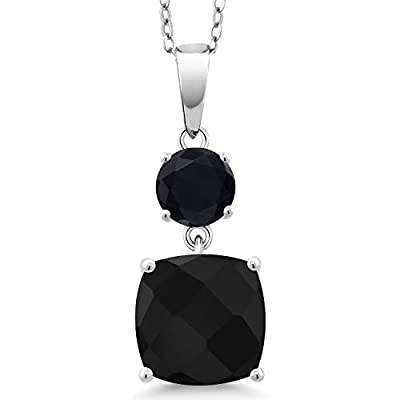 Gem Stone King 925 Sterling Silver Black Onyx Pendant Necklace For Women 4.60 Ct Cushion Checkerboard Cut with 18 Inch Silver Chain