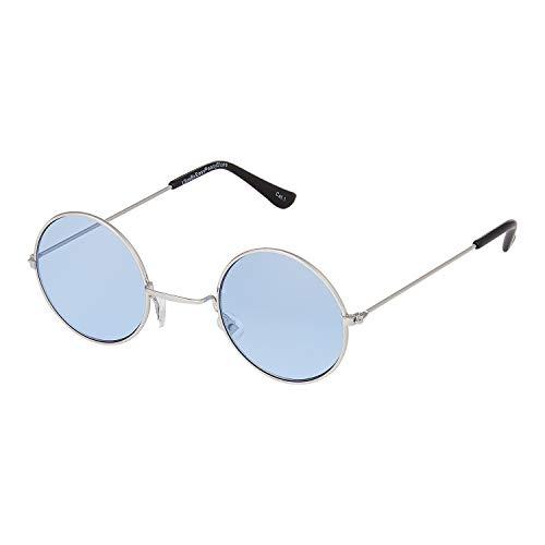 Ultra Silber Rahmen mit Hell Blau Linsen Klein John Lennon Sonnenbrille Stile Erwachsene Retro Rund Sonnenbrille Männer Frauen UV400 Klassische Brillen Unisex Sonnenbrille Herren Sonnenbrille Damen