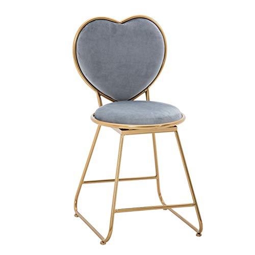 IJzer-Art make-upkruk, gevoerd, modern, minimalistisch, stoel, voor slaapkamer, restaurant, lounge, creatieve inrichting, kaptafel, decoratie, kruk, cosmeticakruk grijs.