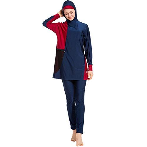 RUIVE Ladies Muslim Bathing Suit with Cap Printing Cover Up Holiday Swimsuit Beachwear Women's Plus Size Swimwear Blue