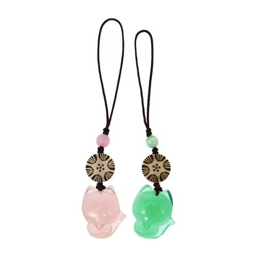 ABOOFAN 2 Piezas Jade Fox Colgante Collar Amuleto Piedras Preciosas Amuleto Colgante de La Suerte para Llavero Joyería Que Hace La Decoración del Teléfono Móvil Accesorio