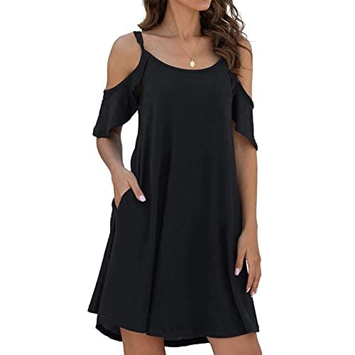 리우 니안 여름 여성을 위한 드레스 냉 SHOUDLER 주름 소매 캐 드레스 캐주얼 해변화 탱크 드레스 솔리드 컬러