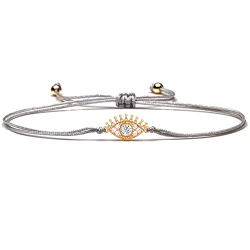 Pulsera con amuleto de la suerte de ojo malvado de pestañas para mujer, latón de moda Cz, negro, gris, rojo, joyería de cadena, pulsera ajustable