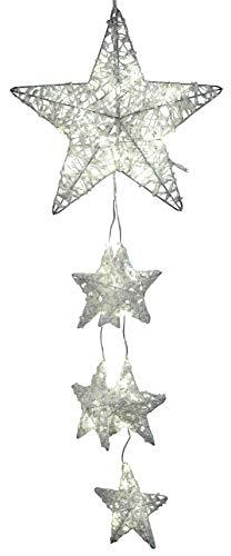 dekojohnson LED raamdecoratie kerst metalen ster slinger met wit gespikkeld acryl 40-LED lampen vensterversiering verlicht 30x90cm groot