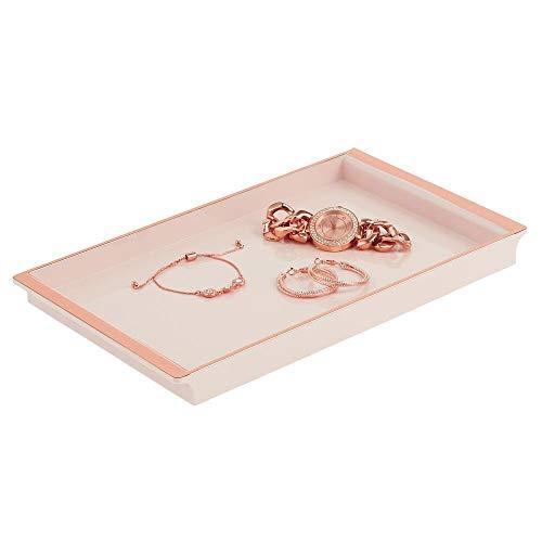 mDesign Bandeja organizadora para cosméticos – Elegante Organizador de baño para lociones, cosméticos, Accesorios, etc. – Organizador de Maquillaje de plástico para el Lavabo en el baño – Rosa Claro