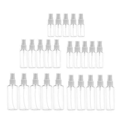 F Fityle 25 Pièces Flacons Vide Voyage, Bouteille Vide en Plastique Fine Brume Parfum Maquillage Pulvérisateur 10-100ml