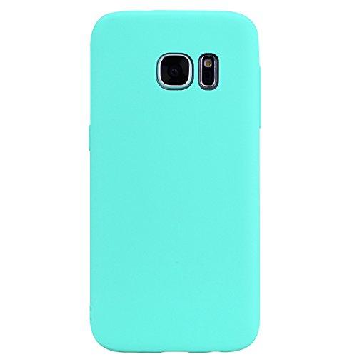 cuzz Funda para Samsung Galaxy S7+{Protector de Pantalla de Vidrio Templado} Carcasa Silicona Suave Gel Rasguño y Resistente Teléfono Móvil Cover-Azul Claro