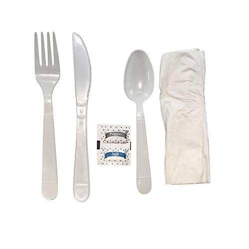 Faithful Supply 50/case Plastic Cutlery Packets Individually Wrapped Utensils | Heavy Duty White Wrapped Cutlery Kit with Fork Spoon Knife Napkin and Salt and Pepper Packets (White, 50)