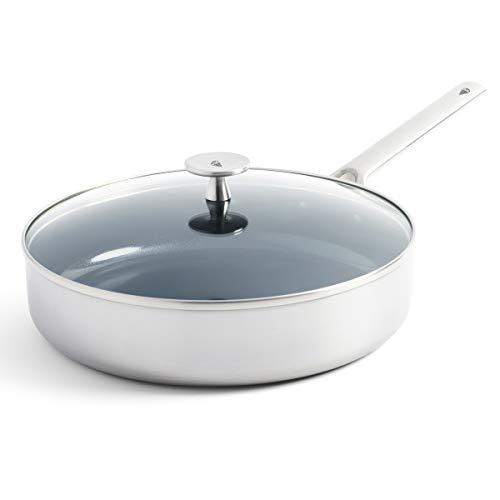 Blue Diamond Cookware Triple Steel Ceramic Nonstick Sauté Pan with Lid, 3.75QT
