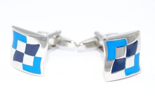 Gemelolandia | Boutons de Manchette avec Motif elegant blue emanel Bleu | Pour Hommes et Garçons | Cadeaux Pour Mariages, Communions, Baptêmes et Autr