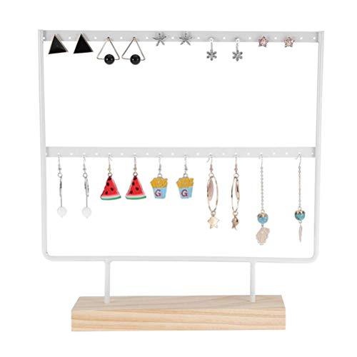 Preisvergleich Produktbild Mekta 44 Loch Schmuckständer aus Edelstahl mit Holzfuß für Schmuck Displays