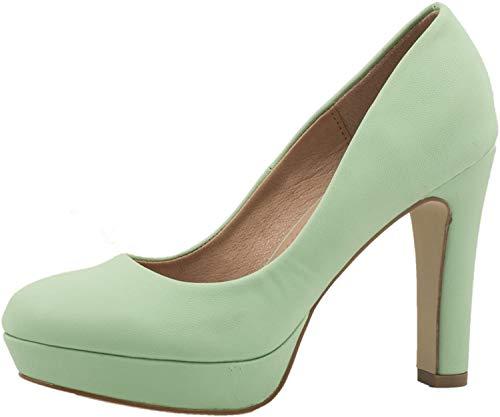Elara Jumex Damen High Heels Schuhe Plateau Pumps Chunkyrayan E22321-Green-38