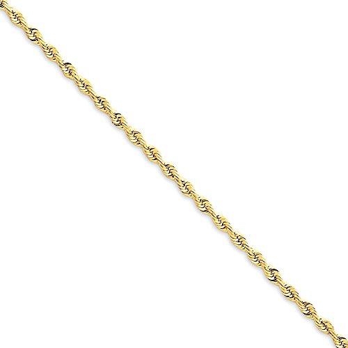 14K Amarillo Oro 2,25mm cuádruple cuerda cadena tobillera