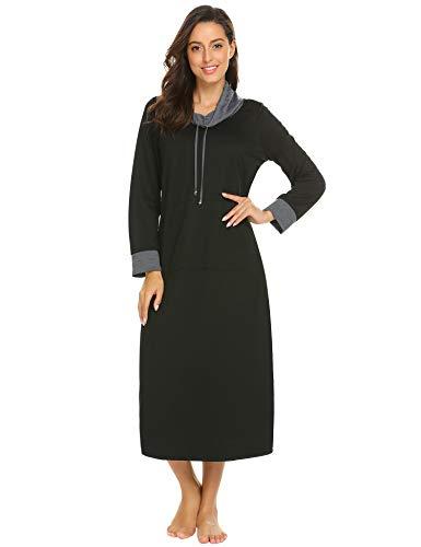 Ekouaer Womens Cotton Knit Nightgown, Warm Long Sleep Dress,Sleepwear with Kangaroo Pocket, 9739black, XXX Large