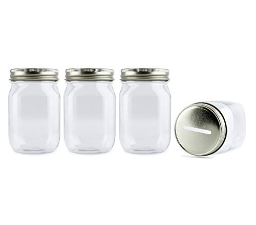 Cornucopia Small Coin Bank Jars (4-Pack); 16oz Clear Plastic Mason Jar Coin Banks w/Gold Slotted Lids
