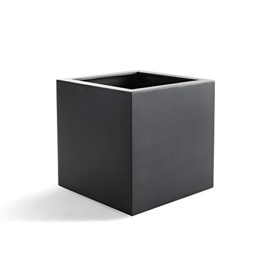 Luca Lifestyle Pflanzkübel Argento Cube Anthrazit Quadratisch Fiberglas *5 Jahre Garantie* - 30x30x30 cm - F014