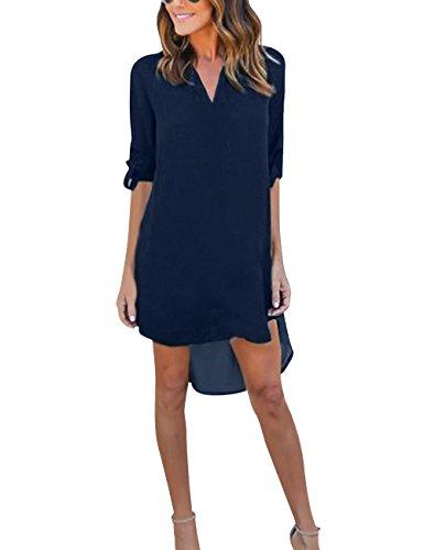 Yidarton Damen Tunika Chiffon Blusen Sommer Oberteile Kleider Casual V-Ausschnitt Dünne Langarm Loose Shirt Longshirt, Dunkelblau - XXL