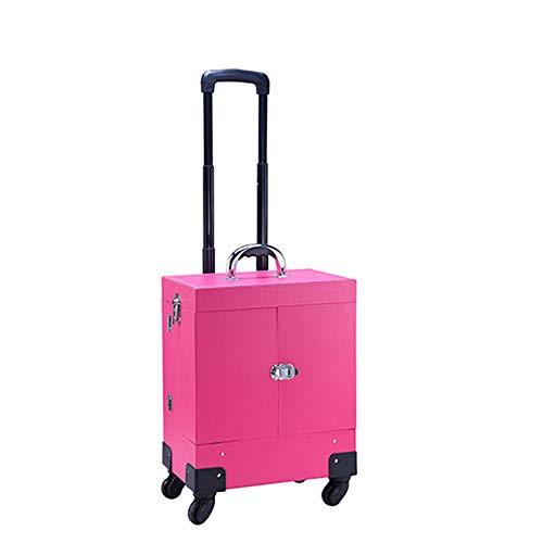 Makeup Trolley Case, Aluminum Cosmetic Box Rolling Makeup Train Box Trolley...