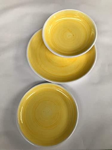 Céramiques siciliennes Ruggeri Set Assiettes 18 pièces pennellati Jaune Or