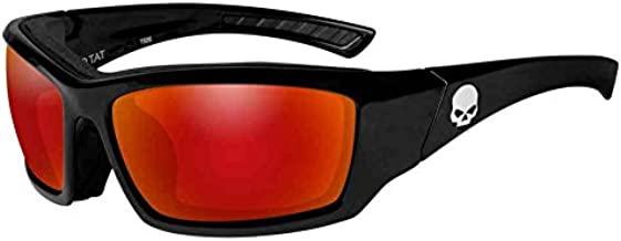 Harley-Davidson Men's Tat Skull Gasket Sunglasses, Red Mirror Lenses HATAT13