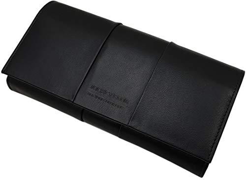 Große Elegante Rind-Nappa Leder Damen Geldbörse / Geldbeutel / Portemonnaie / Portmonaise / Geldtasche / Portmonee mit RFID & NFC Schutz in Schwarz oder Kirschrot (Schwarz)