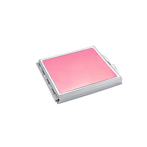 ba bijou-art Miroir de Poche Compact Émail Rose Métal Acier Inoxydable Ultra-Mince