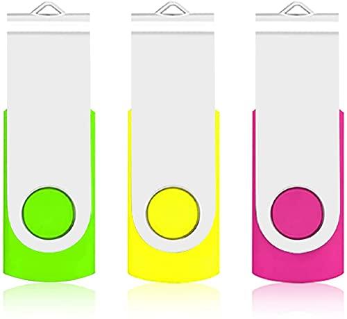 TEWENE 3個セット USBメモリ 16GB フラッシュドライブ USBフラッシュメモリー USB 2.0 回転式 3本ストラップ付き 3色 (16GB, グリーン、イエロー、ピンク)