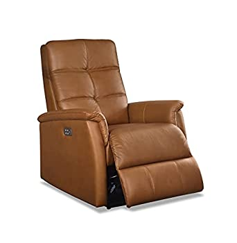 Hydeline Logan Power Head Rest Leather Recliner Chair with Built in USB Port  Cognac