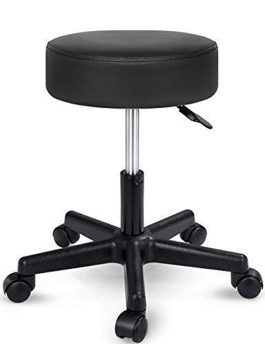 TRESKO Tabouret de Travail Tabouret à roulettes siège pivotant par 360 degrés, Rembourrage de 10 cm, de 8 Couleurs différentes (Noir)