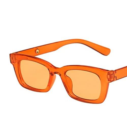 Gafas De Sol Nuevas Gafas De Sol Rectangulares para Mujer, Puntos Retro para Hombre, Gafas De Sol Vintage con Forma De Ojo De Gato para Mujer, Sombra Transparente, Naranja