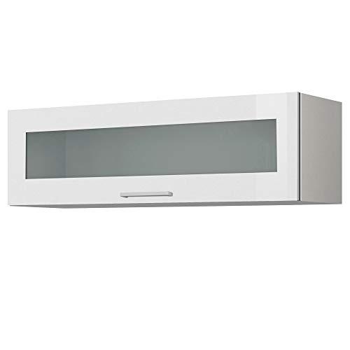 LIVATHA Küchen-Klapphängeschrank MÜNCHEN - Mit Glasklappe - 1-türig - Breite 110 cm - Hochglanz Weiß