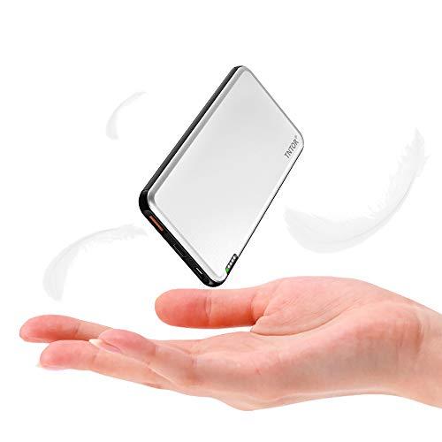 TNTOR Powerbank 10000mAh Ultra Slim Deluxe Aluminiumgehäuse Geschäftsstil Externer Akku, Dual Output/Dual Input 18W USB C Power Bank Kompatibel mit iPhone, Samsung, Huawei und mehr (Silber)