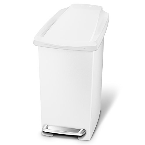 simplehuman 10 Liter / 2.6 Gallon, Compact Slim Bathroom or Office Step Trash Can, White Plastic