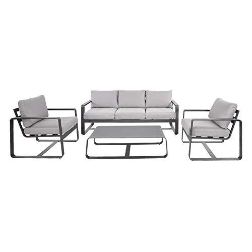 Gartentraum Grande Salotto in Alluminio per 5 Persone - Grigio - Gruppo di sedute Phiro
