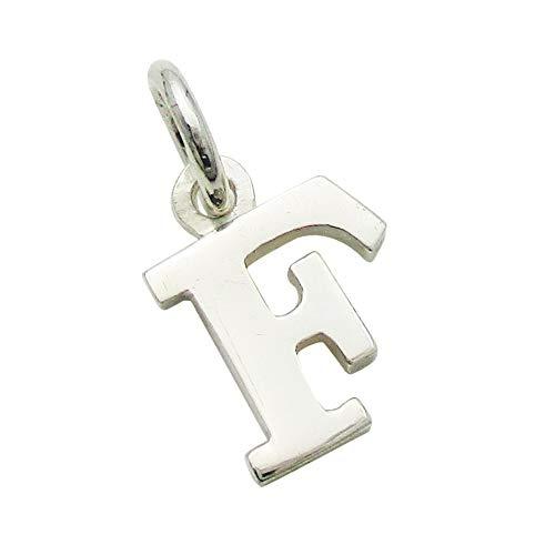 小さなアルファベットのチャーム (1) 「F」 ステンレスチェーンセット ゴシック体 ネックレス シルバー925 50cm