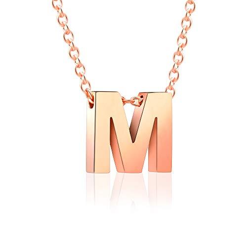 VU110 Collar Inicial M de Rosa Acero Inoxidable con Colgante Letras para Mujeres Niñas